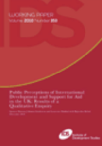Public Perceptions of International Development and Support for Aid in the UK: Results of a Qualitative Enquiry