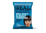 Real Hand Cooked Crisps – Sea Salt & Malt Vinegar – 35gr