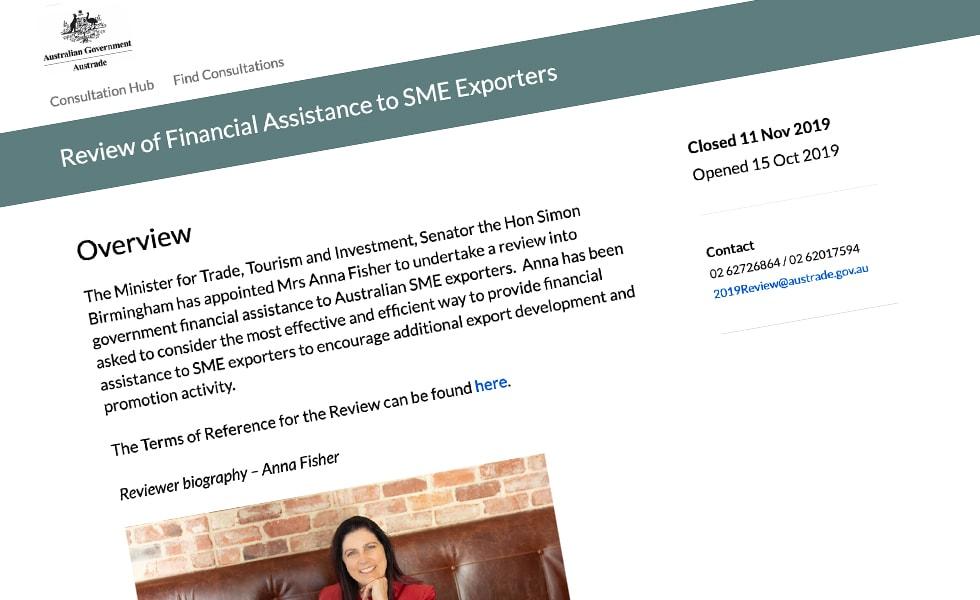 'screenshot of 'Australian Department of Trade, AU