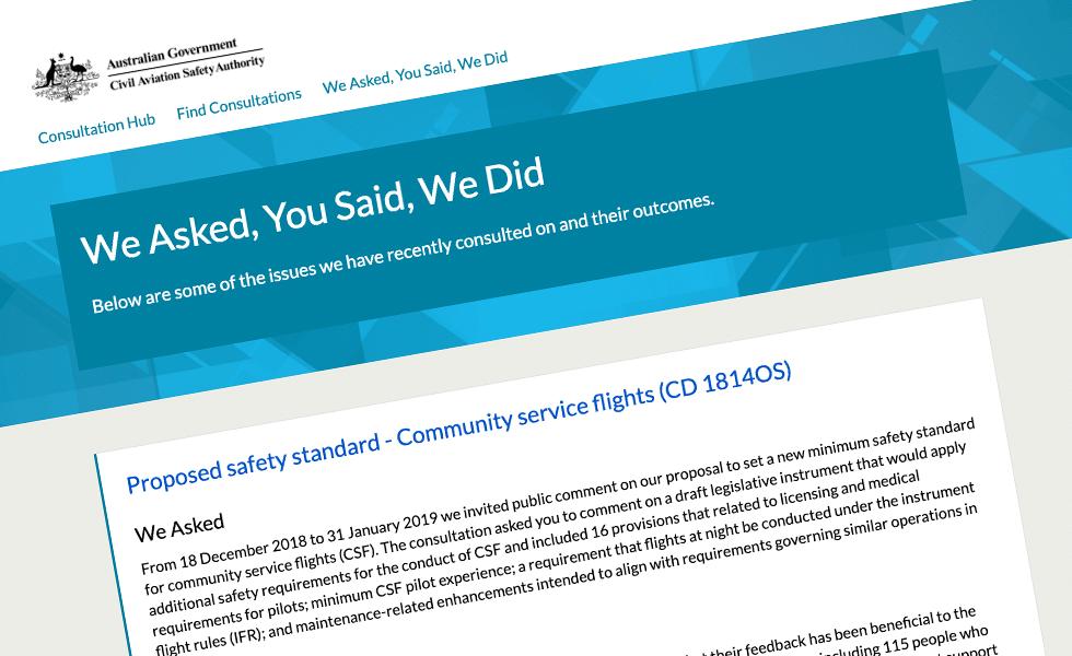 'screenshot of 'Civil Aviation Safety Authority, AU