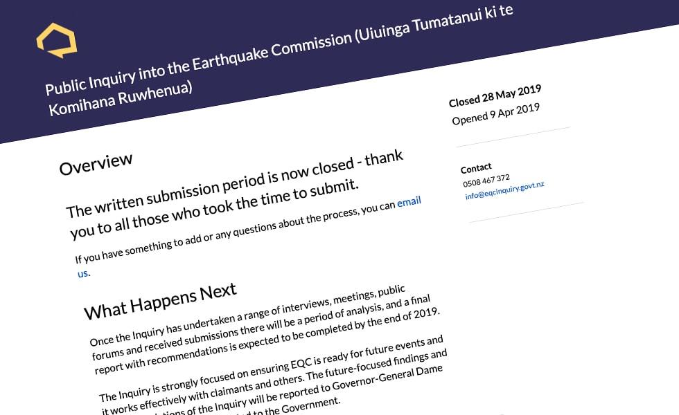'screenshot of 'Earthquake Commission Inquiry, NZ