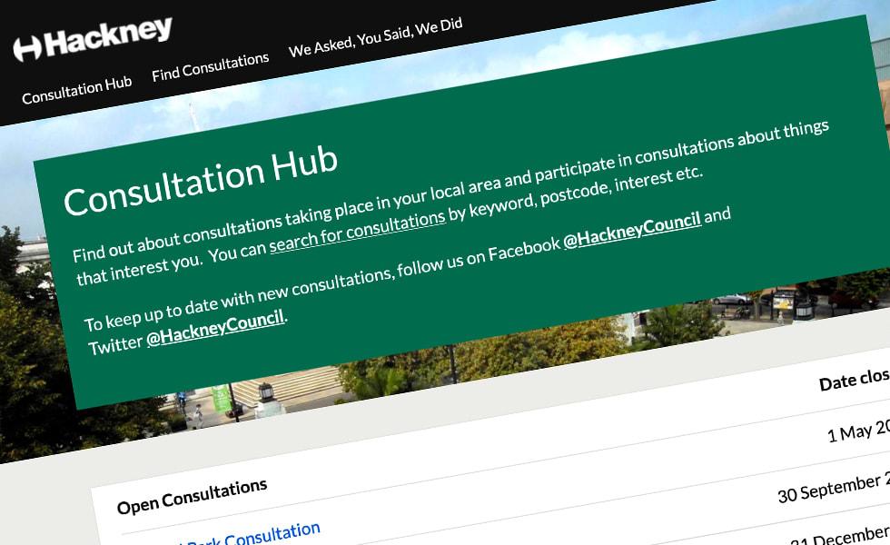 'screenshot of 'London Borough of Hackney, UK