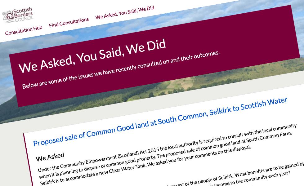 'screenshot of 'Scottish Borders Council, UK