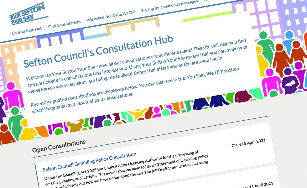 'screenshot of 'Sefton Council, UK