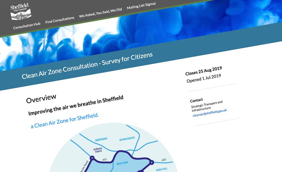 'screenshot of 'Sheffield City Council, UK