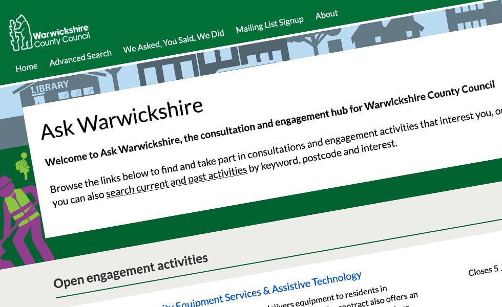 'screenshot of 'Warwickshire County Council, UK