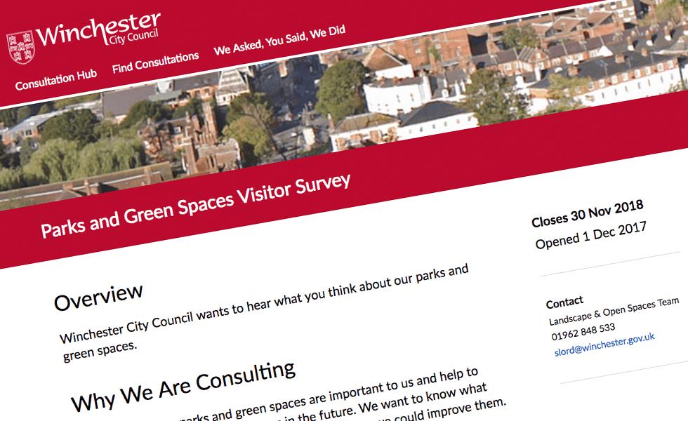 'screenshot of 'Winchester City Council, UK