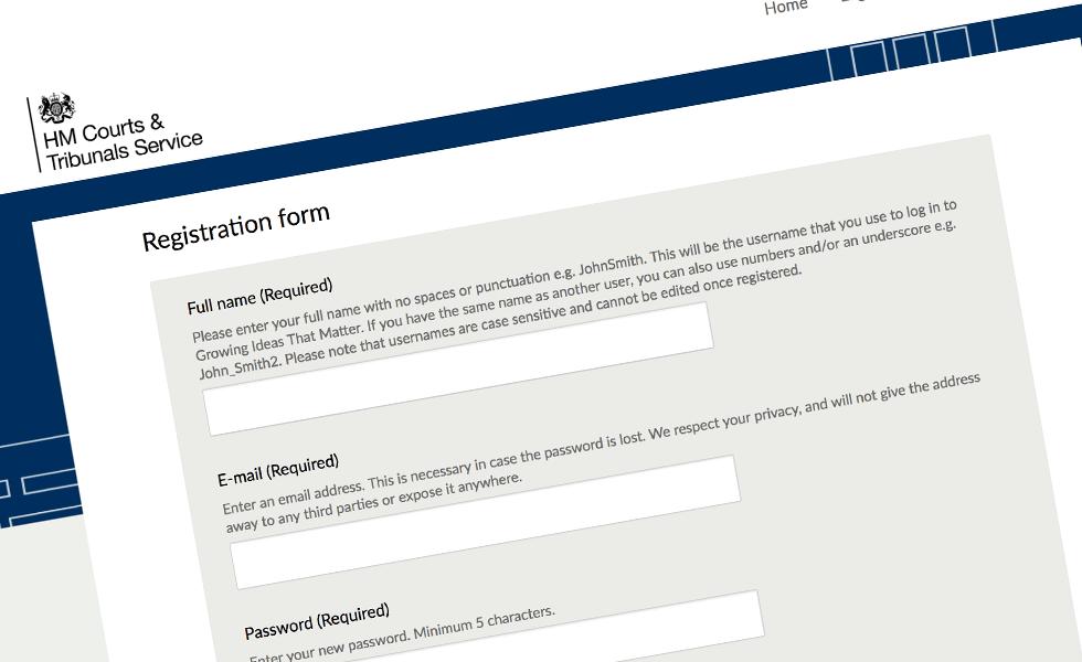 'screenshot of 'HM Courts and Tribunals Service, UK