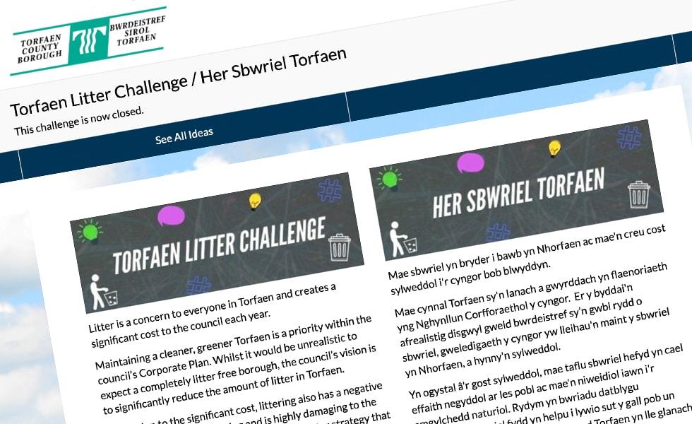 'screenshot of 'Torfaen County Borough Council, UK