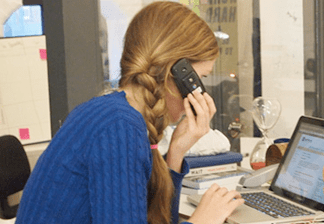 photo of Delib account manager on the phone
