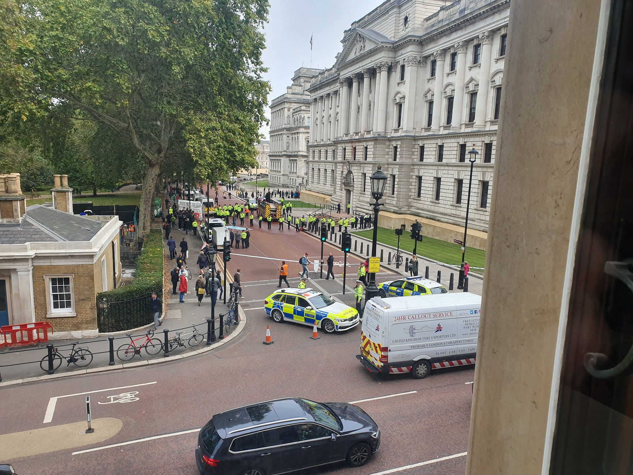 photo of a view of the UK Treasury building from the window of Delib's Westminster 2019 PDP event