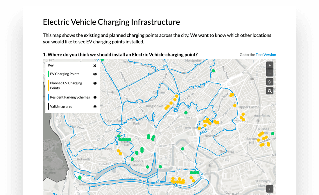 Example of map added to an Electric Vehicle (EV) Charging Infrastructure consultation, with map layers that show existing EV charging points, planned EV points and resident parking schemes.
