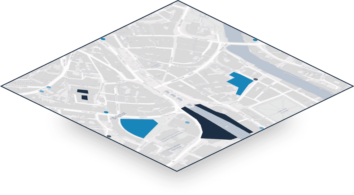 Informational map layers with added details, for example geographical features, amenities, infrastructure, or the area for a planned development