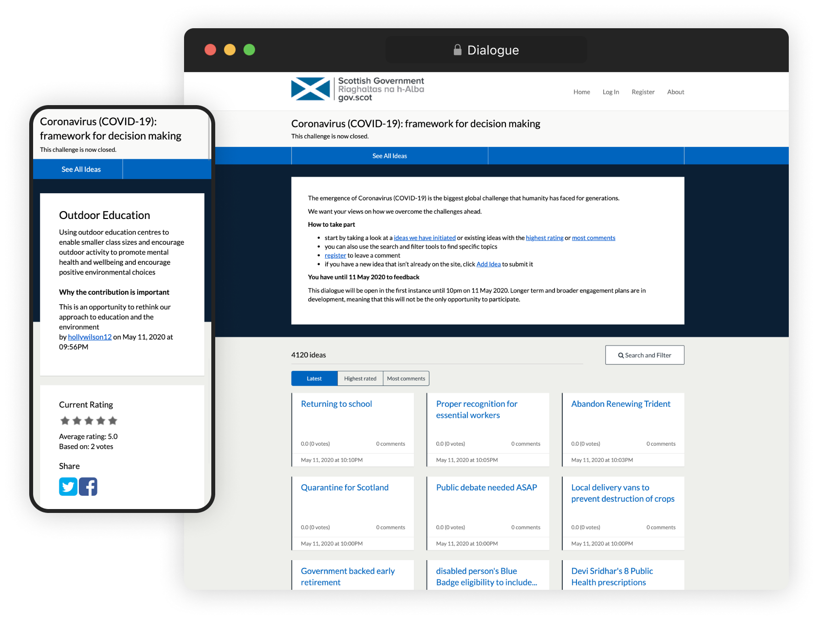 Screenshot of Scottish Government's Covid 19 conversation using Dialogue (on both a browser and mobile view)
