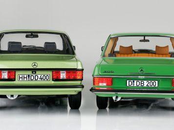 """Grün & divers: '73 Mercedes-Benz /8 und 200 CE """"AMG"""" von Norev in 1:18"""