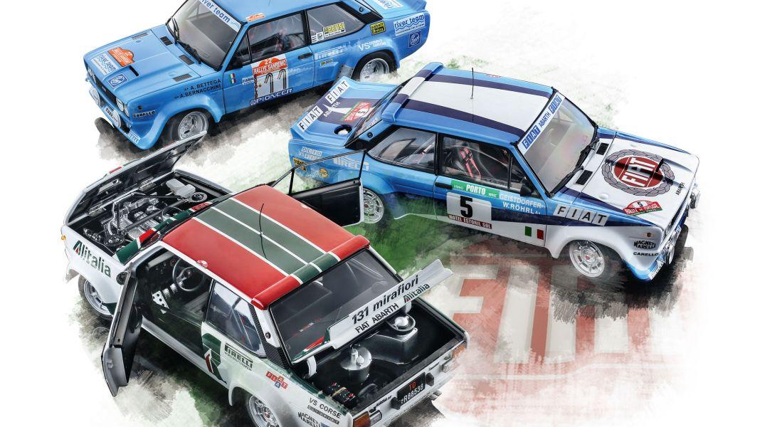 Trio Mirafiori: Fiat 131 Abarth Rallye von Kyosho in 1:18