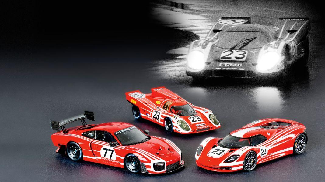 Schnelle Streifen: Drei Porsche im Salzburg-Look in 1:43