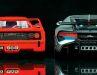 Wie haste dir verändert: Heckansichten von Supersportwagen in 1:18 aus der Produktion von Bburago im Wandel der Zeit