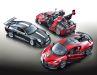 Der Porsche 911 GT3 RS (2011) strahlt in tiefem Schwarz, die 1:18- Modelle des Ferrari FXX K und Bugatti Divo in Rot-Tönen