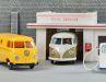 Messemuster nach VW-Vorbildern, unverglaster T1 von 1952 in 1:87, Ausschnitt von dem riesigen 1:40-Tankstellen- Diorama