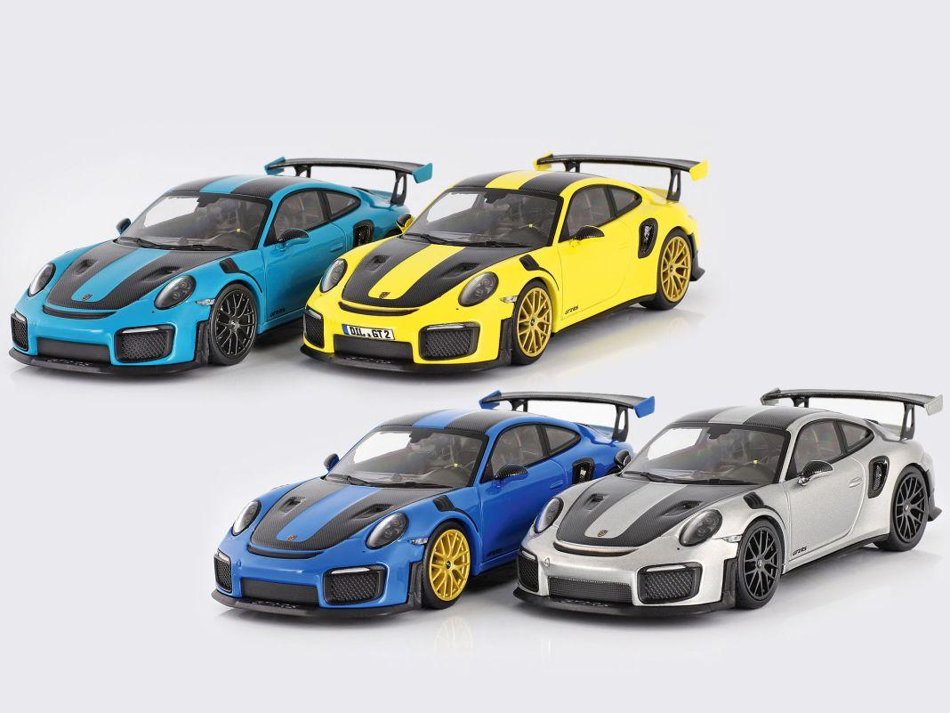 In vier exklusiven Farben baut Minichamps sein 1:43-Modell des Porsche 911 (991) GT2 RS  für CK-Modelcars in 222er-Auflage