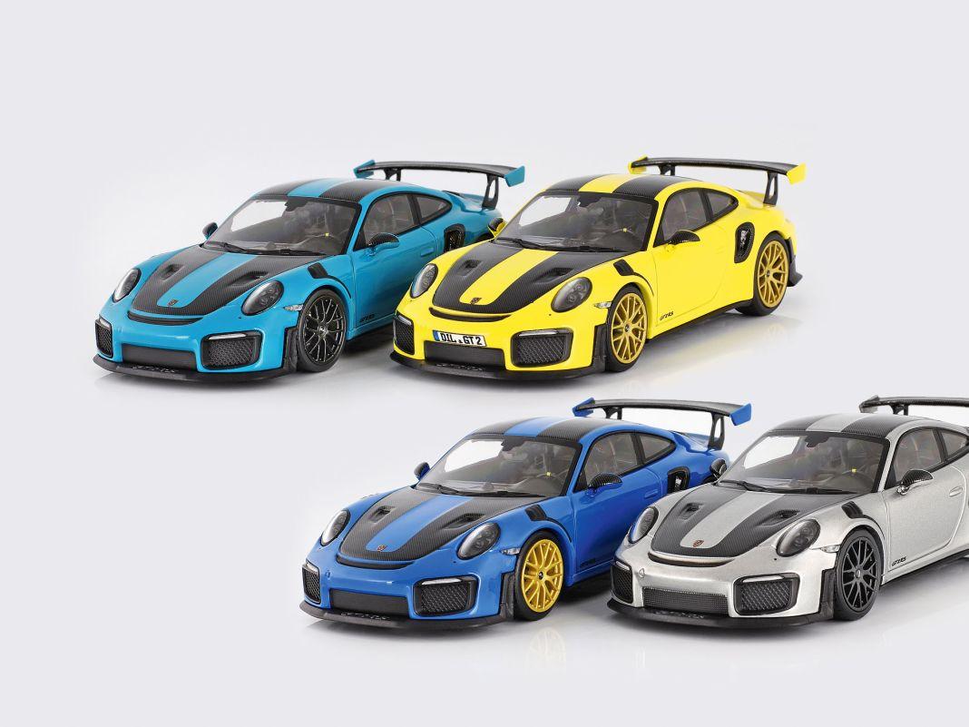 In vier exklusiven Farben baut Minichamps sein 1:43- Modell des Porsche 911 (991) GT2 RS für CK-Modelcars in 222er-Auflage