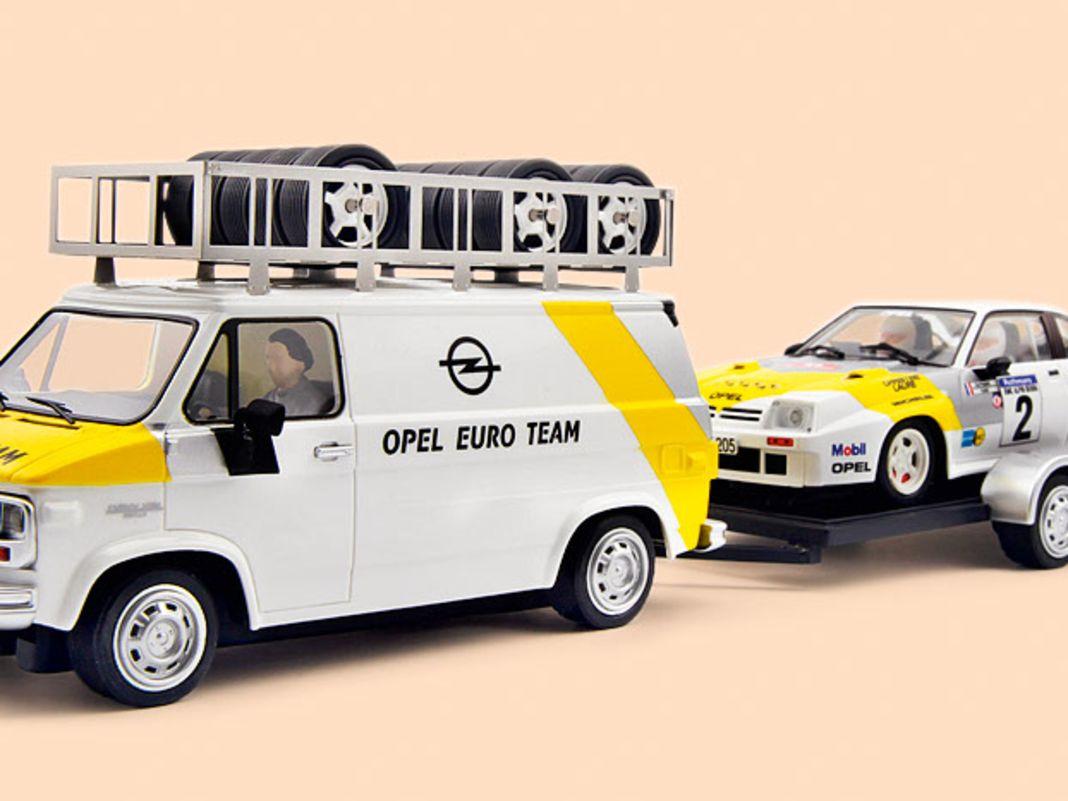 Avant Slot baut um seinen Opel Manta 400i herum im Maßstab 1:32 gleich ein  ganzes Gespann