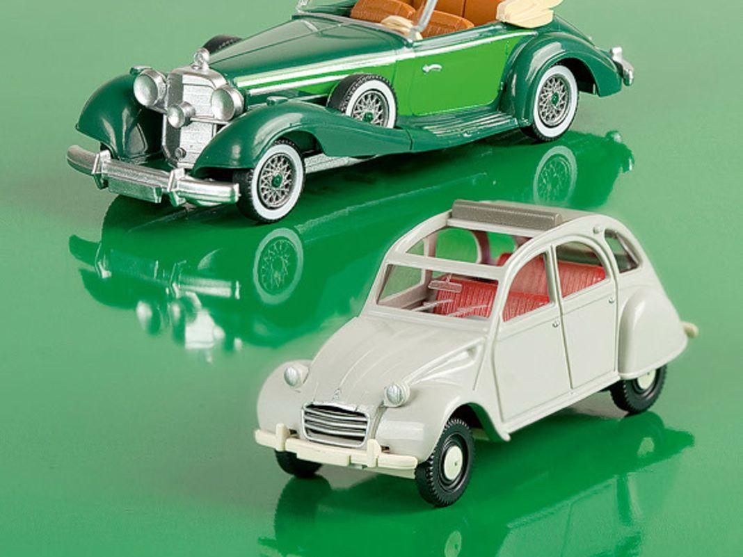 Die beiden 1:87er von 2 CV und Mercedes 540 K