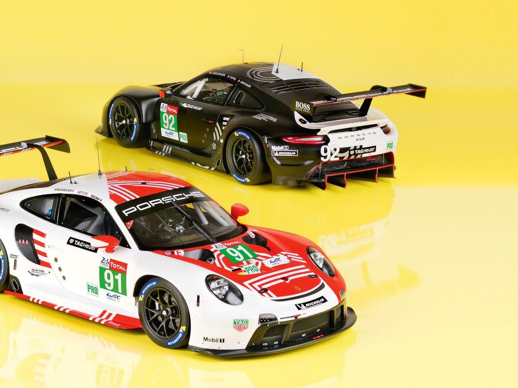 In fantastischem Finish baut Minimax für Porsche die beiden 911 RSR aus dem Le-Mans-Rennen von 2020 in der Baugröße 1:18 aus Resine nach