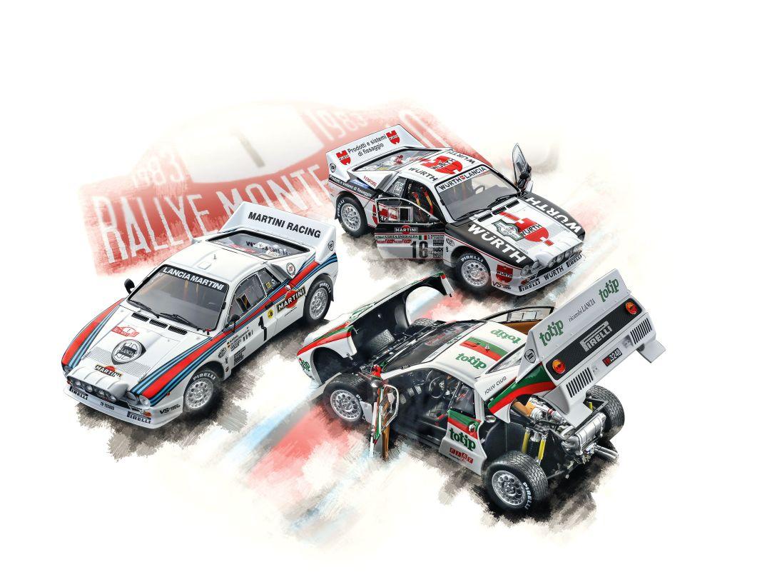 Diese drei Versionen des legendären Lancia Rally 037 legt Kyosho aus Kanagawa jetzt in Die Cast und der Sammlerbaugröße 1:18 ganz neu auf