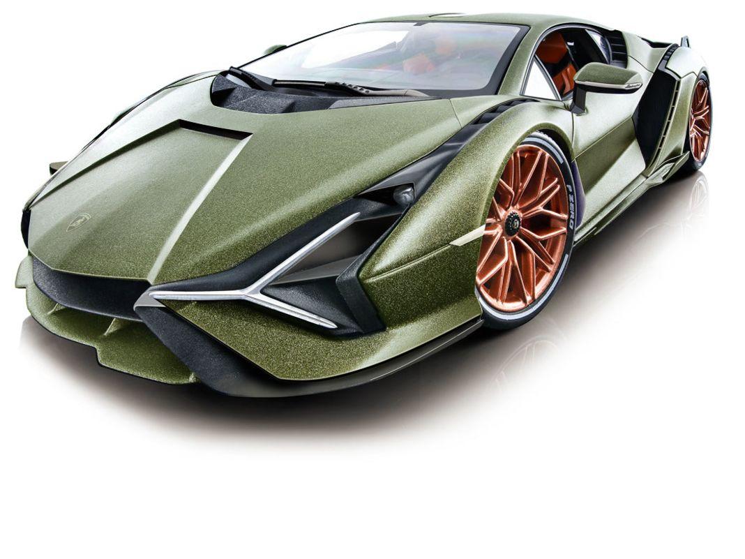 Auch die ungewöhnliche Farbe des Lamborghini Sián ist bei der Die-Cast-Miniatur makellos und semimatt aufgetragen