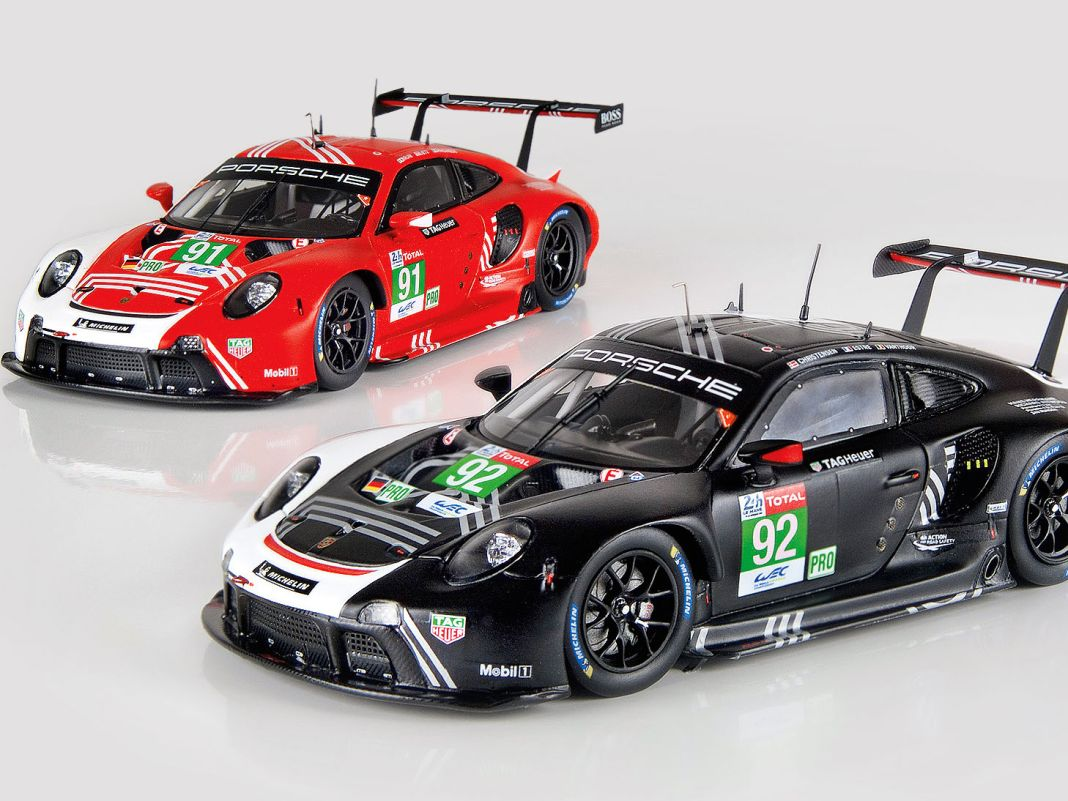 Die Le-Mans-Porsche von Minimax in 1:43 verbinden Top-Dekorationen, ein aufwendiges Interieur und filigrane Antennen miteinander