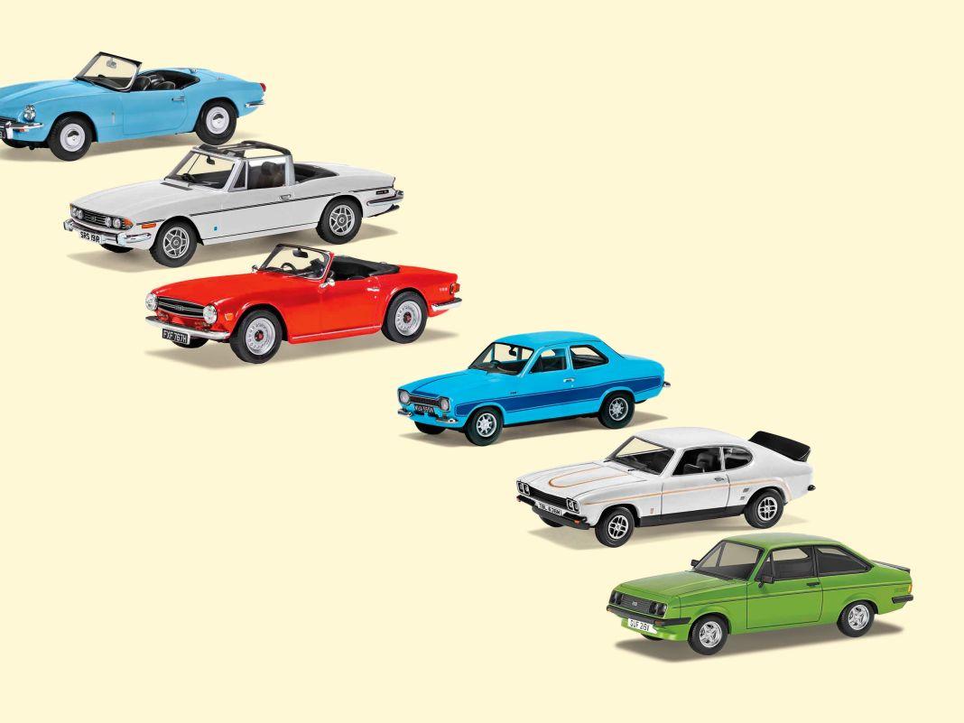 """Die Diagonale füllen bei Corgis Vanguards in 1:43 die """"Triumph- Topless-Collection und das Ford-RS-Set in klassischer Die-Cast- Machart sowie very british und stilvoll aus"""