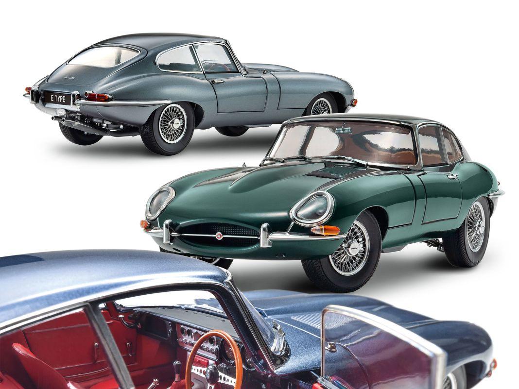 In drei unterschiedlichen Lackierungen bringt Kyosho aus Japan den Jaguar E-Type Serie I als Coupé im Maßstab 1:18