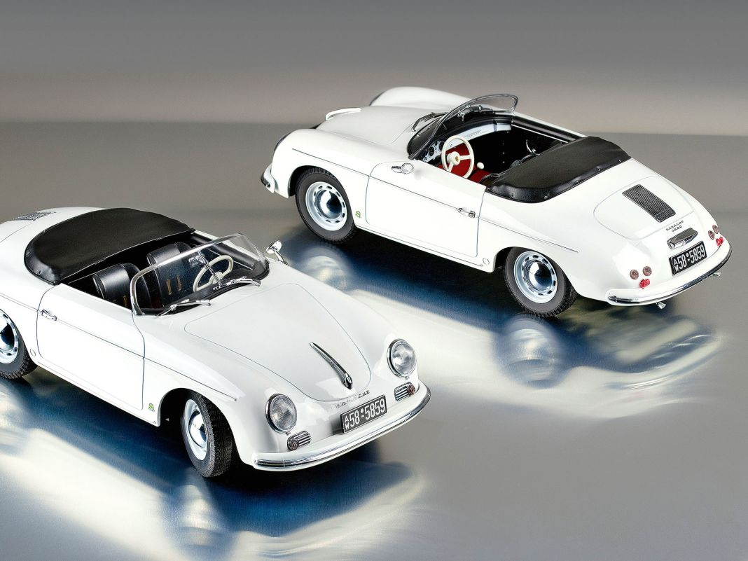 So einfach kann ein Sportwagen sein, der jede Menge Spaß macht: der Purismus des ganz frühen Porsche 356 Speedster als 1:18er von Norev