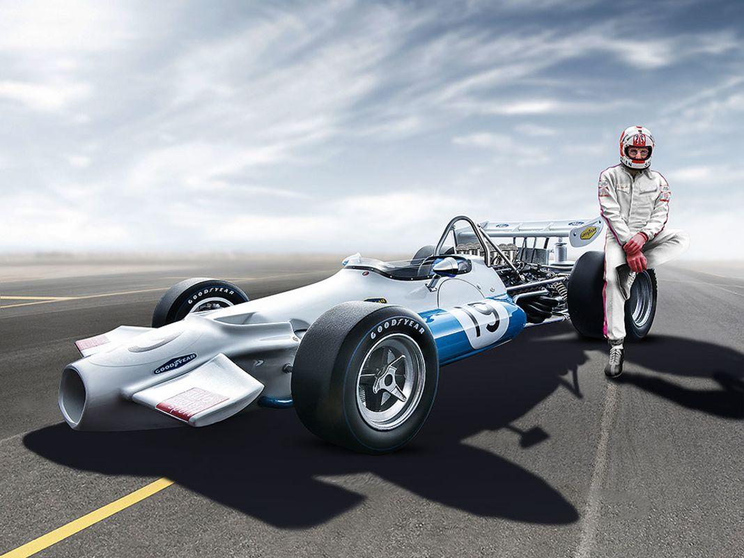"""Den BT33 fuhr Jack Brabham noch selber. Bei dem 1:18er von Tecnomodel geht der F1 von Rolf Stommelen mit """"ams""""- Logos an den Start."""
