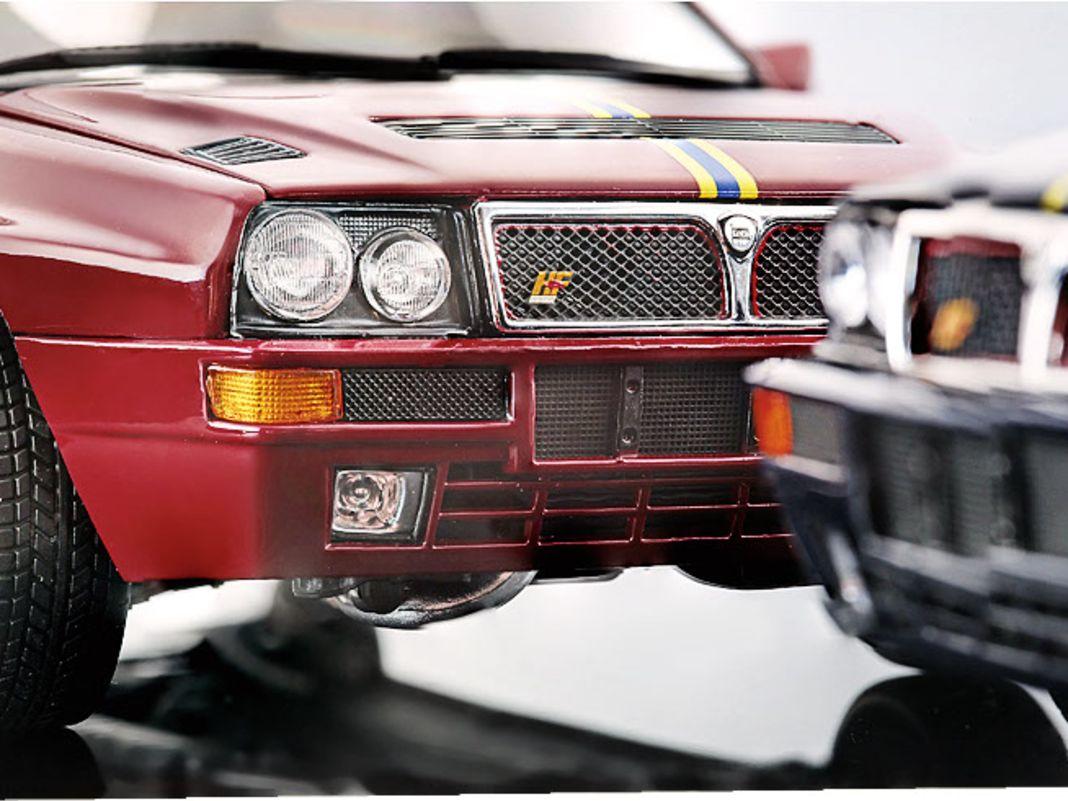 Die Straßenversion des finalen Lancia Delta von Kyosho in 1:18 macht dagegen eindeutig auf Luxus