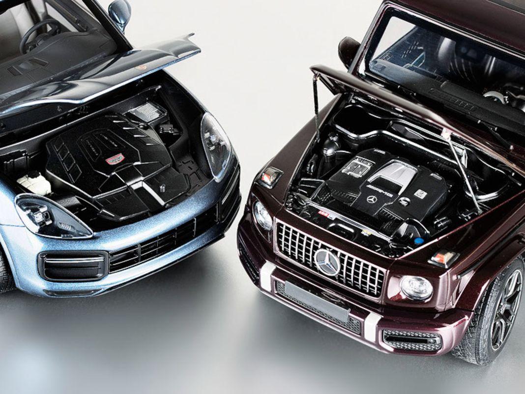Mercedes G63 und Porsche Cayenne Turbo S von Minichamps in 1:18