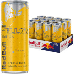 Foto Red Bull Yellow Edition Tropical Karton 12 x 0,25 l Dose Einweg