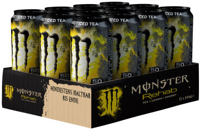 Foto Monster Rehab Tea + Lemon + Energy Karton 12 x 0,5 l Dose Einweg