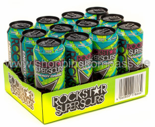 Foto Rockstar Energy Drink Super Sour Green Apple Karton 12 x 0,5 l Dose Einweg