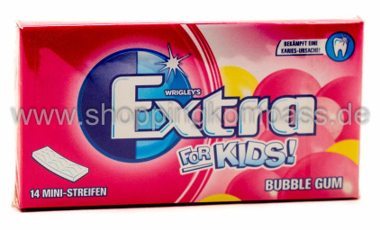 Foto Wrigley's Extra For Kids Bubble Gum Kaugummi 14 Mini-Streifen