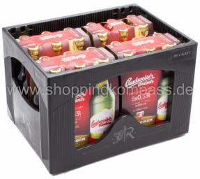 Budweiser Budvar B:Original Kasten 4 x 6 x 0,33 l Glas MW