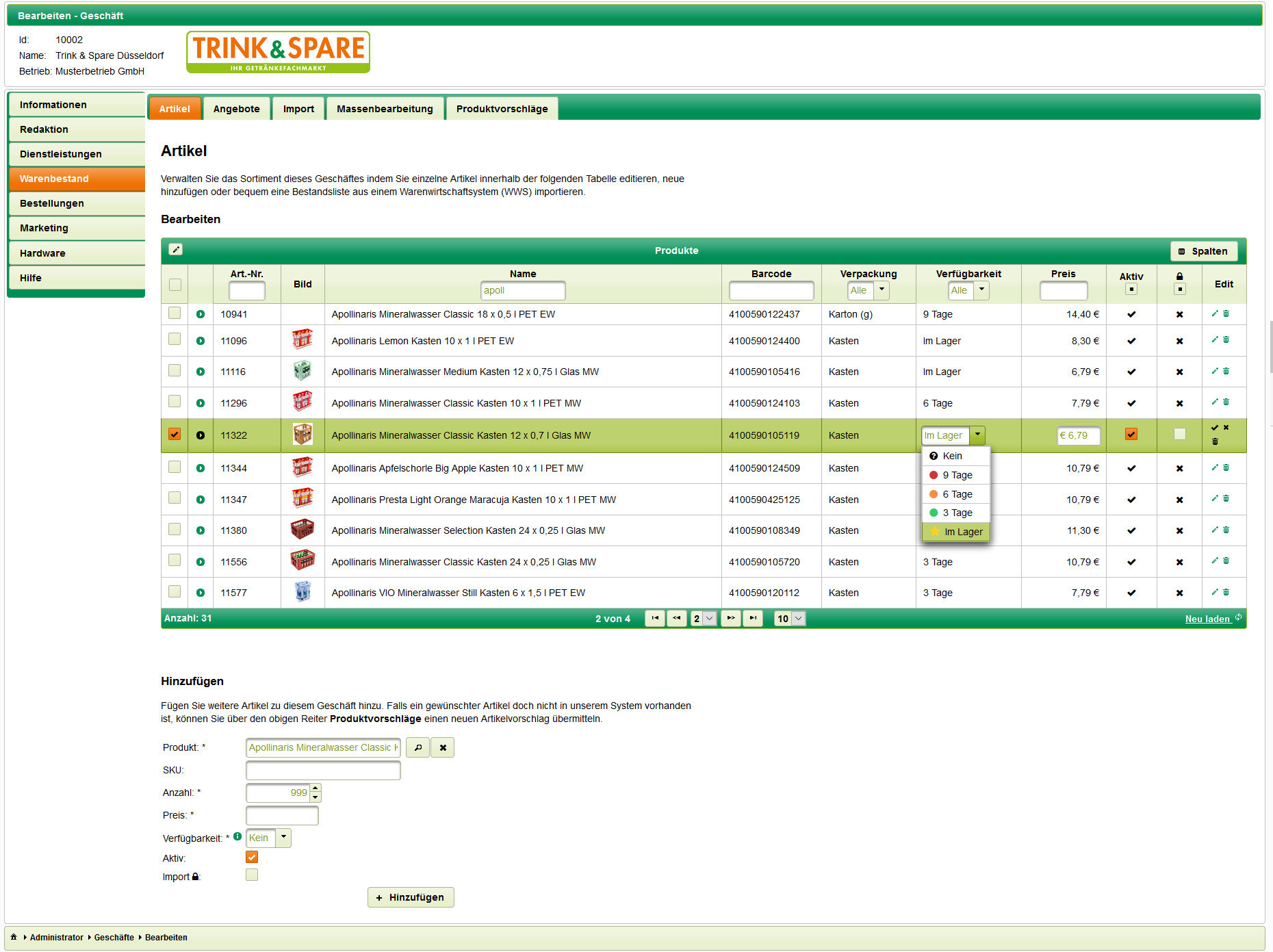 Beispiel manueller Artikelverwaltung