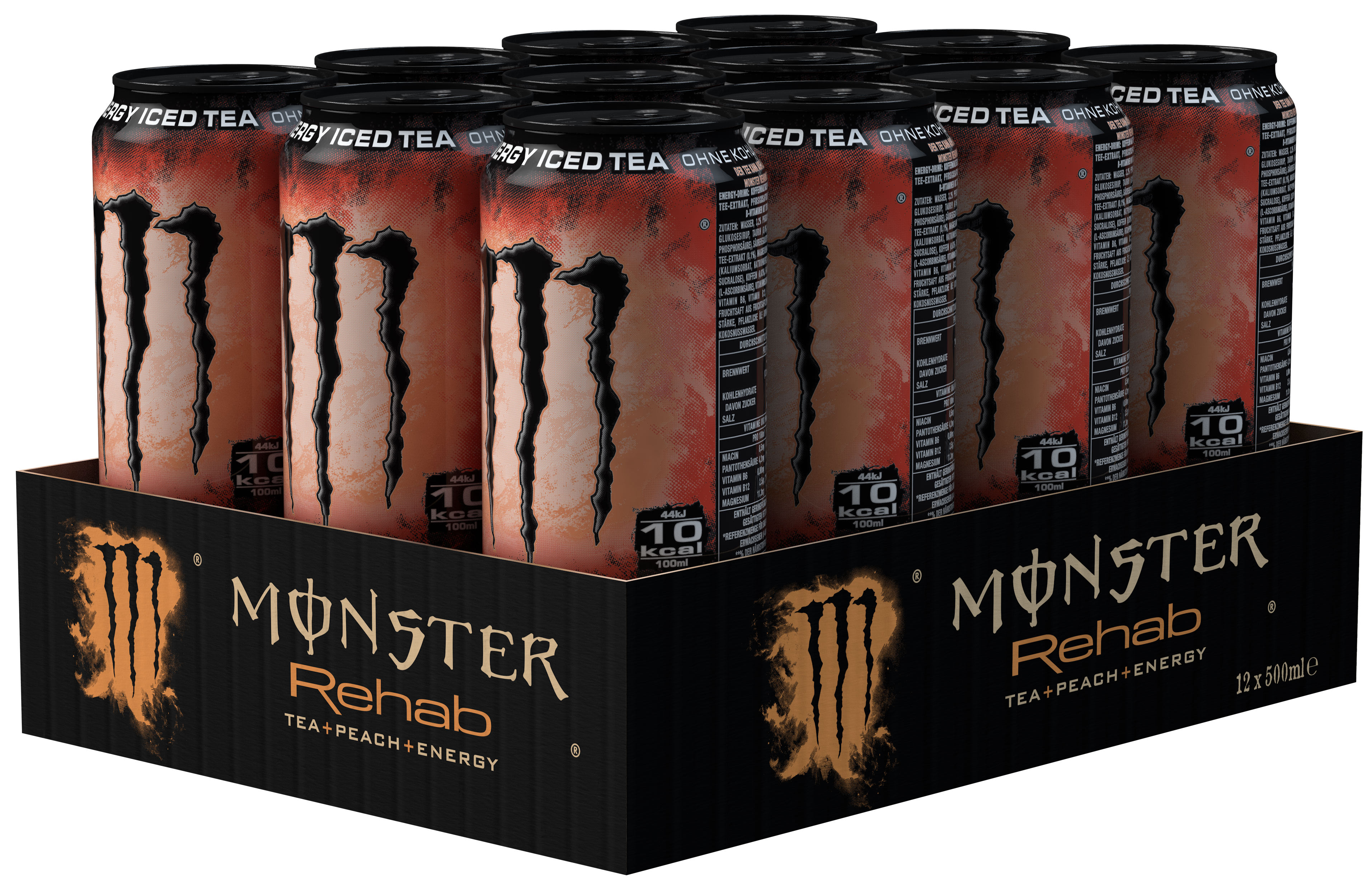 Monster Rehab Tea + Peach + Energy Karton 24 x 0,5 l Dose Einweg
