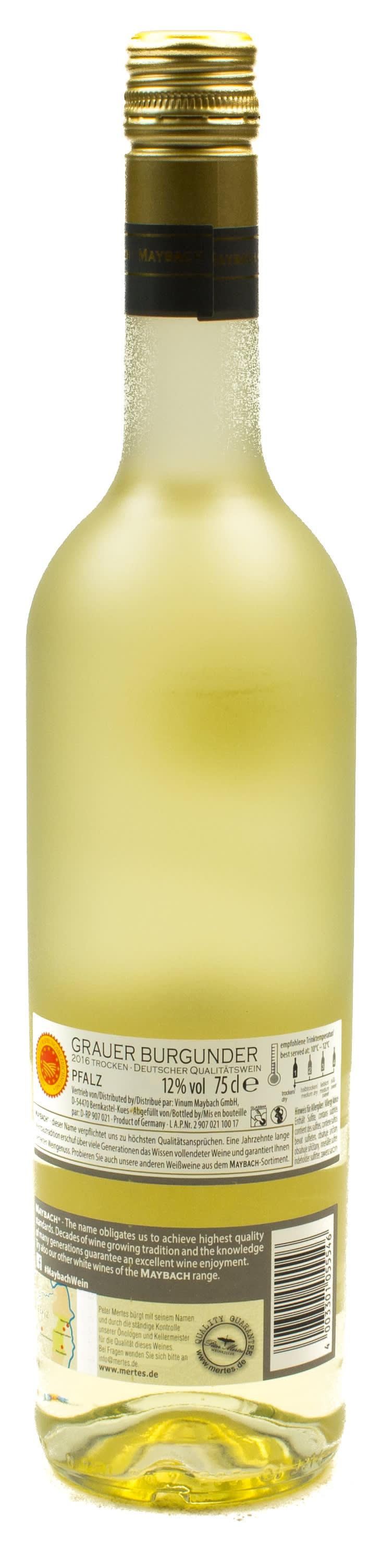 weißwein - maybach grauer burgunder weisswein trocken 0,75 l glas