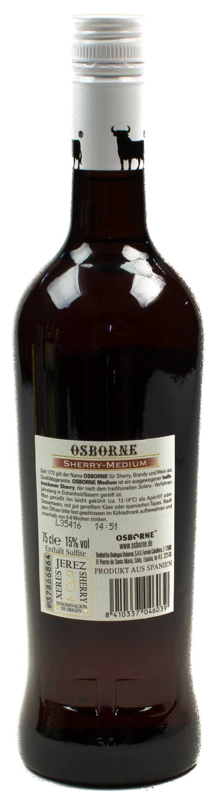 Osborne Sherry Medium 0,75 l Glas