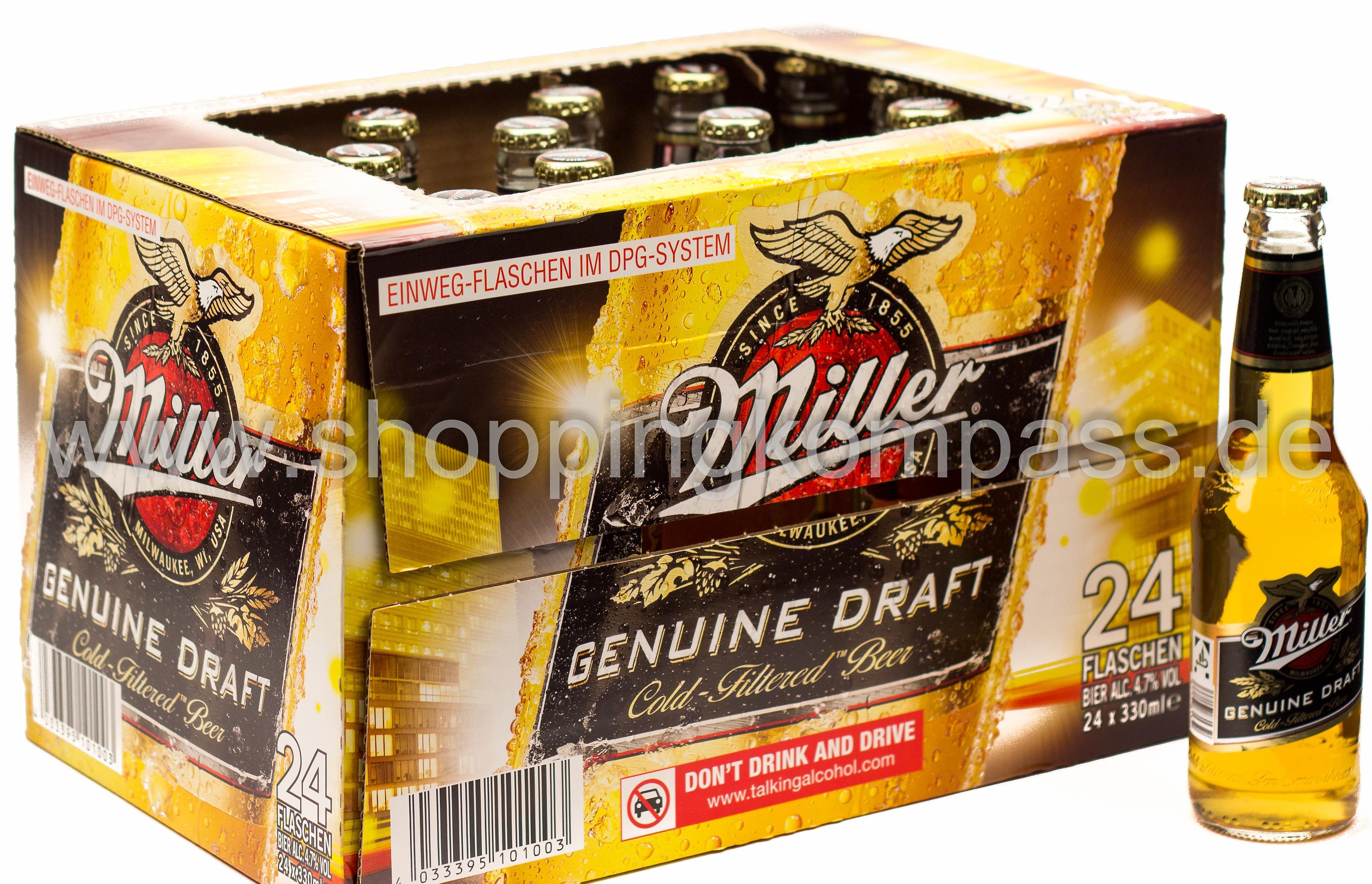 Miller Genuine Draft Karton 24 X 033 L Glas Einweg