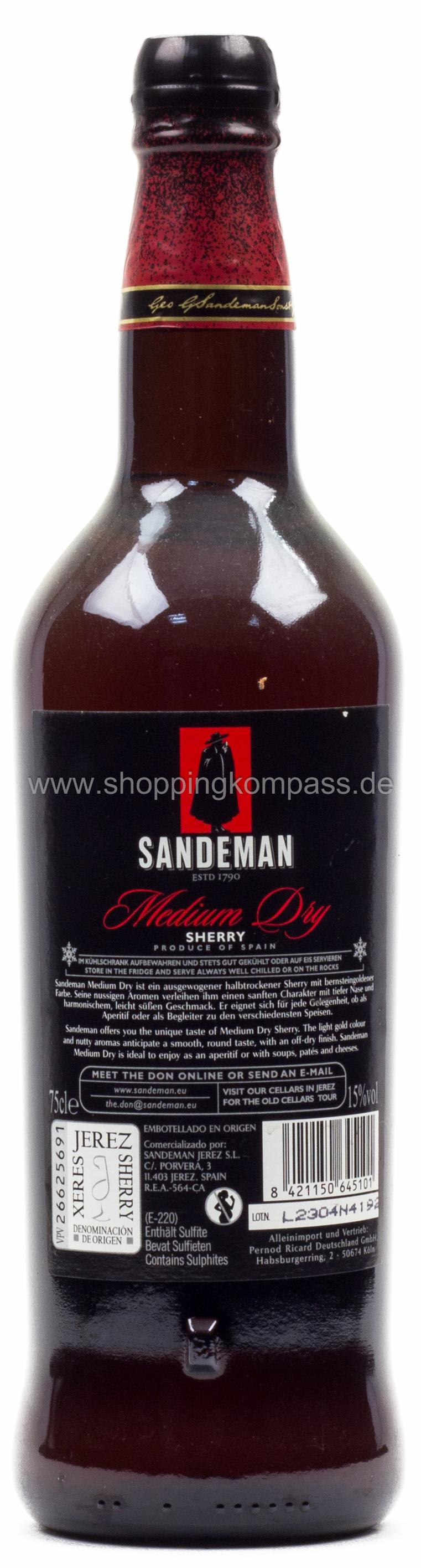 Sandeman Medium Dry Sherry 0,75 l