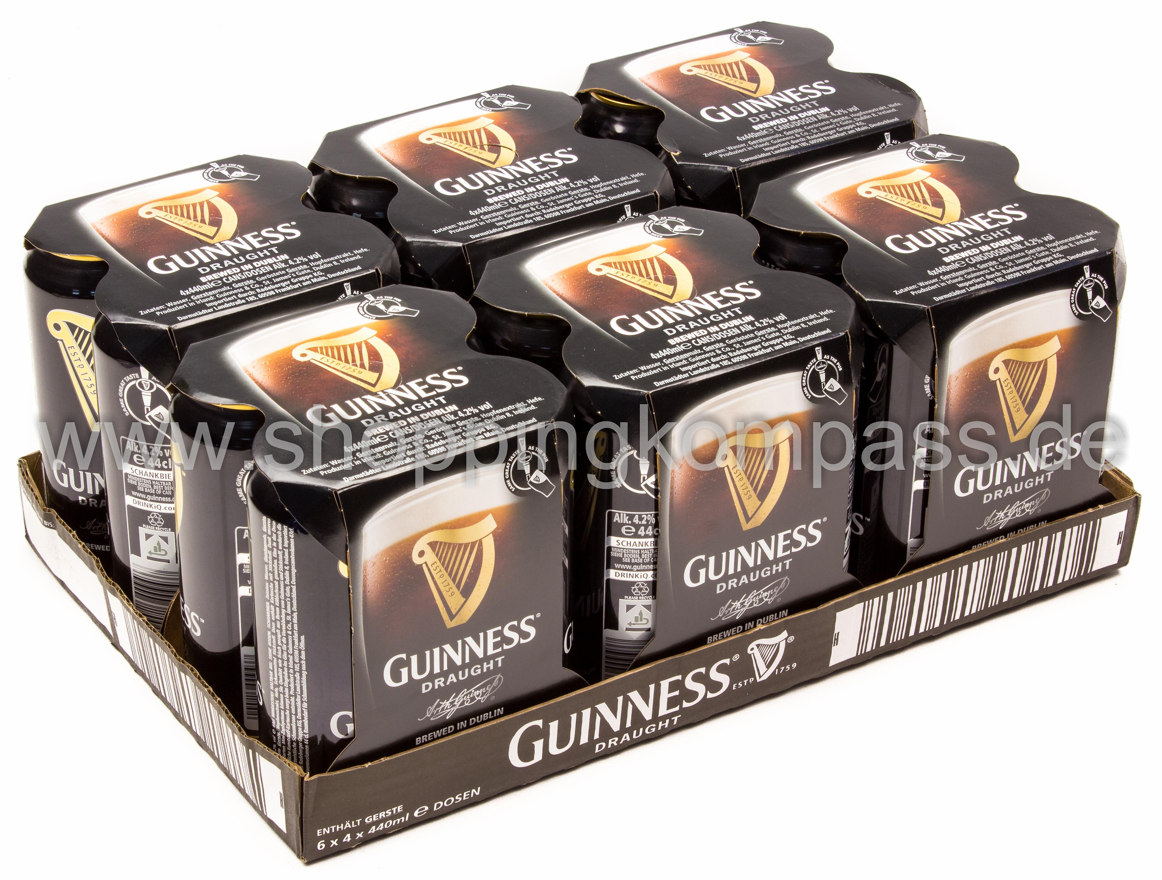 Guinness Draught Karton 6 x 4 x 0,44 l Dose EW